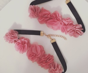 flower necklace, pink choker, and pink flower image