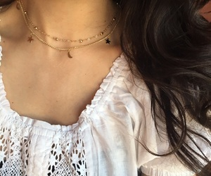 gold necklace, layered necklace, and star choker image