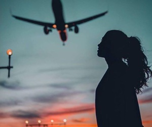 blue and pink, heaven, and plane image
