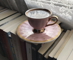 book, cup of coffee, and books image