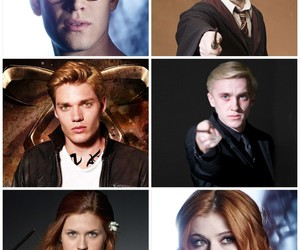 draco malfoy, ginny weasley, and harry potter image