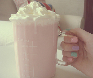 pink, nails, and drink image
