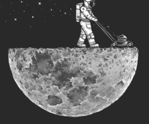moon, stars, and astronaut image