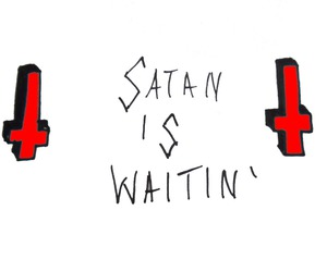 black and white, quote, and satan image