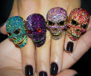 skull, rings, and nails image