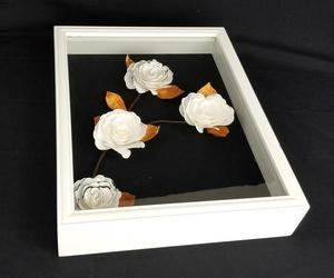 black and white wall art, 3d wall art, and paper flower wall decor image