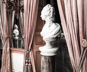 curtains, statue, and white image