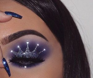 fashion, makeup, and brown with glitter image