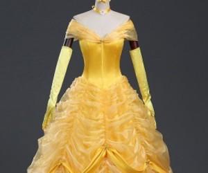 princess belle dress, yellow belle dress, and belle dresses image
