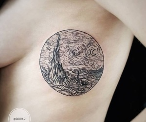 tattoo, art, and starry night image