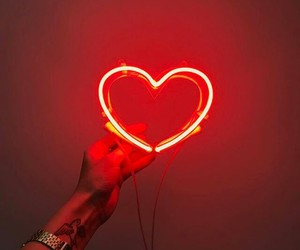 heart, neon light, and red image