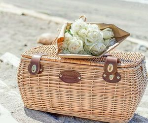 basket, beach, and roses image