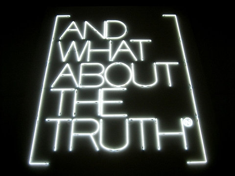 text, truth, and black image