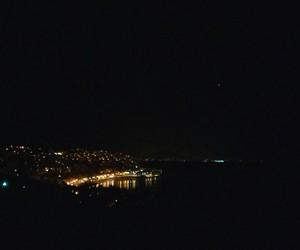 black, night, and sea image