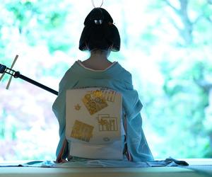 kimono, obi, and shamisen image