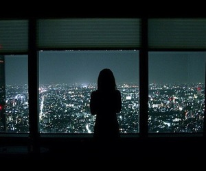 city, night, and girl image