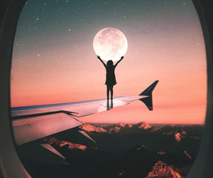 moon, airplane, and sky image