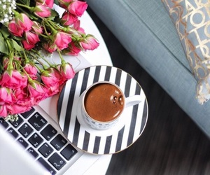 coffee, flowers, and صباح الخير image