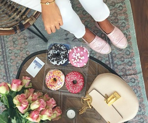 donuts, chocolate, and flowers image