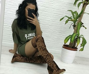 boots, selfie, and brown image