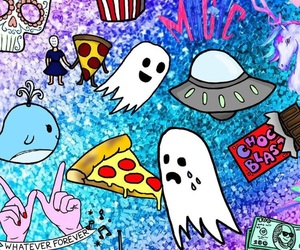 background, pizza, and sticker image