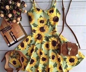 dress, sunflower, and fashion image