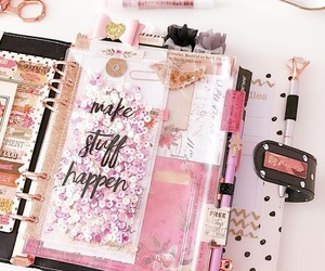 notebook, pink, and planner image