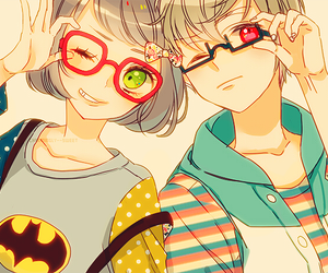 anime, couple, and glasses image
