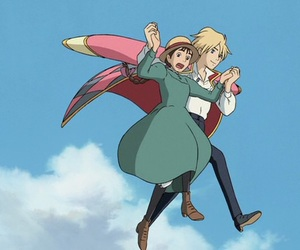 studio ghibli, howls moving castle, and howl and sophie image