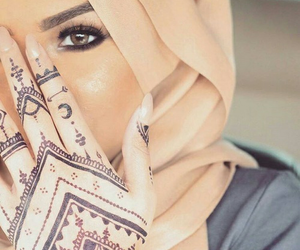henna, hijab, and make up image