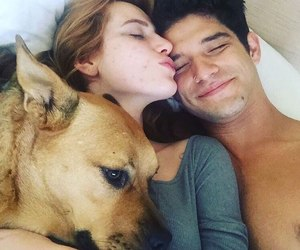dog, tyler posey, and couple image