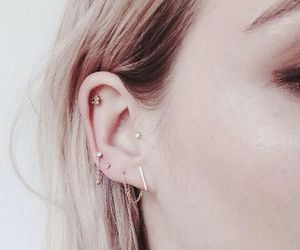earring, piercing, and hair image