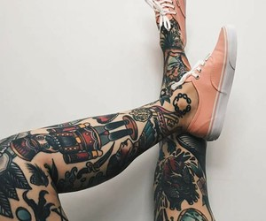 legs, sneakers, and tattoo image