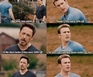 funny, tony stark, and captain america image