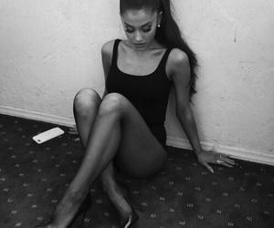 black and white, grey, and ariana grande image