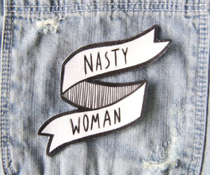 black and white, girl gang, and feminist button image