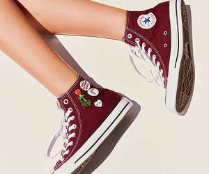 high top, maroon, and all star image