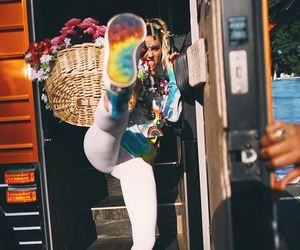 miley cyrus, rainbow, and colors image