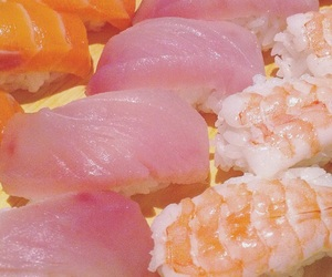 sushi, pink, and food image