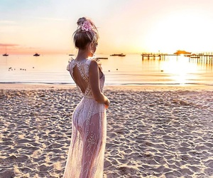 beach, fashion, and sunset image