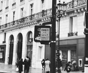 black and white, paris, and shopping image