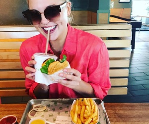 burger, eating, and French Fries image