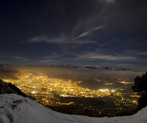 lights, mountains, and snow image