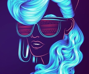 wallpaper, neon, and blue image