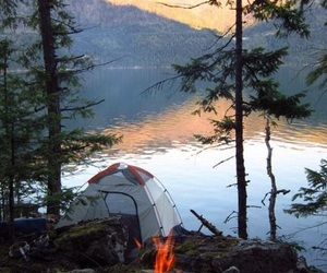 camping, lake, and fire image