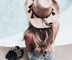 girl, summer, and hat image