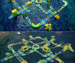 swimming, waterpark, and inflatable image