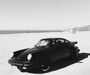 car, beach, and black and white image