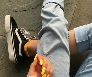 nails, vans, and yellow image
