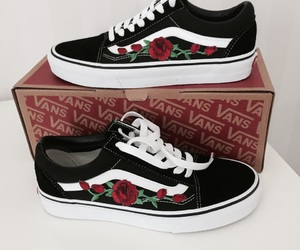 vans, roses, and sneakers image